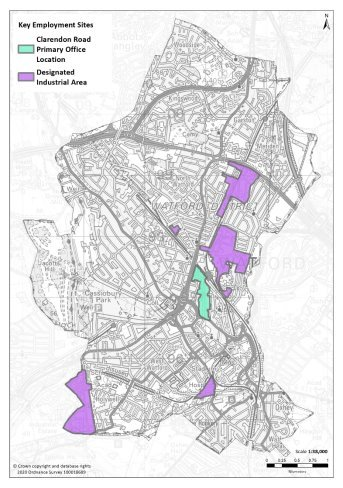 X:\Watford\05_Place_Shaping\03_Planning_Policy\SP2\SP2.3 WBC\SP2.3.5 NEW LOCAL PLAN 2036\Final Draft Plan\Local Plan Chapters\Consultation 2020\Illustrations for each chapter\MAPS\201102 Key Employment Sites.jpg